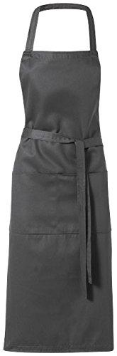 Schürze grau / Küchenschürze Grillschürze Latzschürze mit zwei Taschen vorne (100% Twill-stoff Baumwolle)