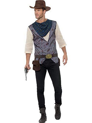 Männer Harter Western Cowboy Kostüm mit Hemd, Weste, Halstuch. Gürtel und Hut, perfekt für Karneval, Fasching und Fastnacht, XL, Braun ()