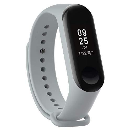 Iloft Silicone Accessories Strap Soft Silicone Bracelet Band for Xiaomi Mi Band 3 Wristband (Ash Grey)