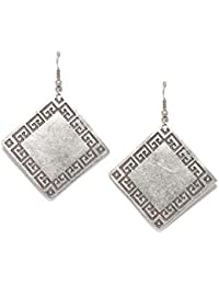 Bold Square Silver Plated Earring