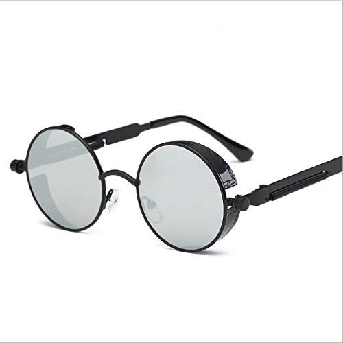 Runde Steampunk Sonnenbrille Männer Frauen Mode Spiegel Gläser Markendesigner Retro Brillengestell Vintage Sonnenbrille UV400 (Color : Black mirror)