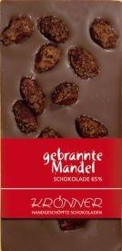 Krönner Gebrannte Mandel Edelbitter Schokolade , mit frisch gebrannten Mandeln, 125 g Tafel, Kakao 65%