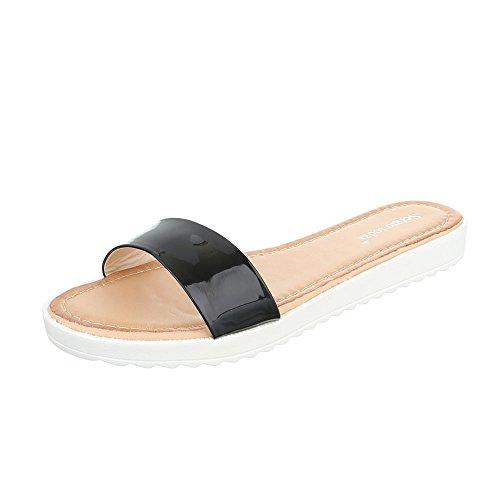 Pantoletten Damenschuhe Jazz & Modern Leichte Ital-Design Sandalen / Sandaletten Schwarz T165
