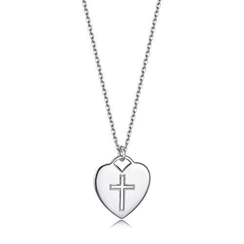 (925 Sterling Silber Anhänger Halskette Kreuz Religiöse Glaube Hoffnung Liebe Einstellbare Armkette, weiss, rhodiniert)