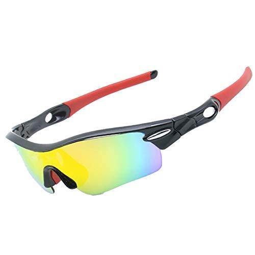 KnBoB Fahrradbrillen Für Brillenträger Radbrille Brillenträger Radbrille Nacht Sonnenbrillen Set Schwarz Rot + 5 Linsen Kit