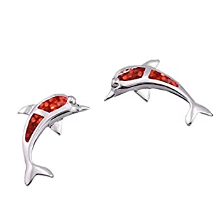 ACVIP Women's Opal Dolphin Stud Earrings (Red)