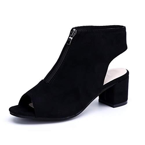 Sandalen Damen Blockabsatz Stiefel Peep Toe Keilabsatz Stiefeletten Reißverschluss Sommer Schuhe Party Plateau 5cm Schwarz EU37
