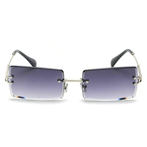 NauyGnol Kleine randlose Sonnenbrille für Damen und Herren, Sommer, schwarz, rot, rosa, rechteckig, UV400, Retro Gr. Einheitsgröße, grau
