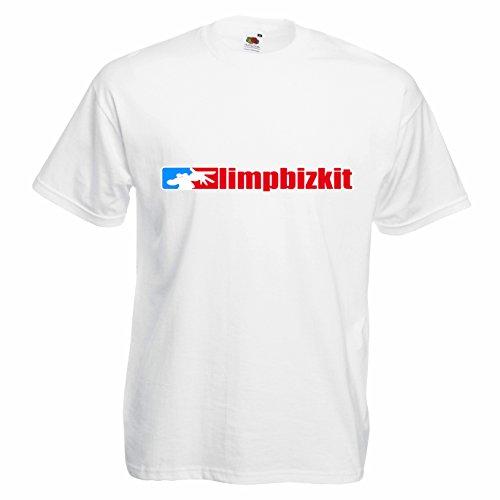 T-shirt Uomo Limp Bizkit - Maglietta nu metal rock band 100% cotone LaMAGLIERIA,XL, Bianco