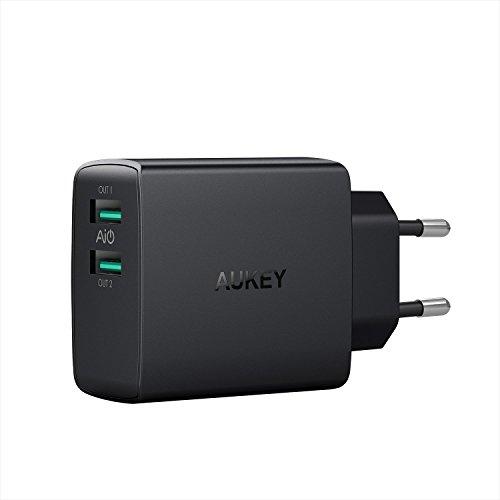 AUKEY USB Ladegerät 24W 2 USB Port mit AiPower Technologie für iPhone, iPad, Samsung Galaxy, Nexus, HTC, Motorola, LG und weitere (Schwarz)