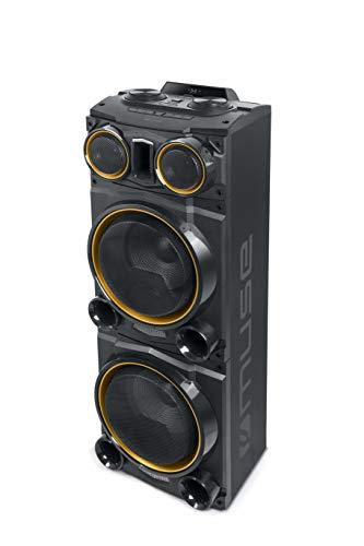 Muse M-1985 DJ PA-Anlage 800 W, mit Bluetooth und Licht-Effekten (USB, AUX, Mikrofon-Anschluss, FM-Radio, Fernbedienung) schwarz