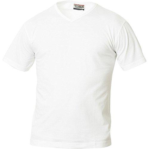 Maglia T-shirt scollo a V uomo manica corta cotone CQ029331 Bianco