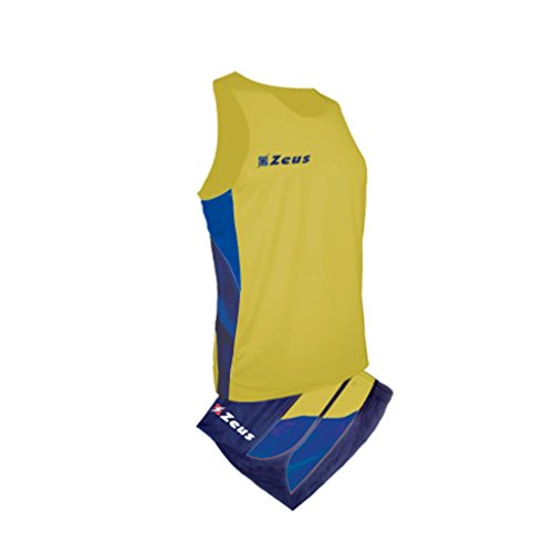 ZEUS KIT BRUNO GIALLO-BLU-ROYAL RUNNING COMPLETO COMPLETINO SPORT TORNEO PEGASHOP (XL)