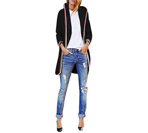 Damen Hoodie Herbst Winter Kapuzenpullover Hippie Trendy Coat Loose Classic Casual Lang Outerwear Langarm Kapuzenshirt Frauen (Color : Schwarz, Size : S) Trendy Winter Coats