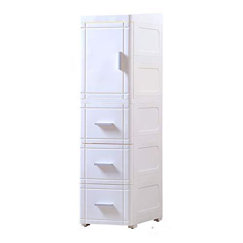 Shozafia Rollwagen und Organizer, leicht montierbar, mit 3 Ebenen, schmaler Küchenschrank, ausziehbares Regal neben Kühlschrank mit Schubladen 9.84inches, 3 Drawers weiß -