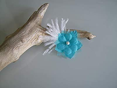Barrette enfant fille pince cheveux Blanc Bleu Turquoise (courts détachés) Perles Fleur Plumes p robe Mariée Mariage Soirée Cérémonie Coktail (petit prix, pas cher)