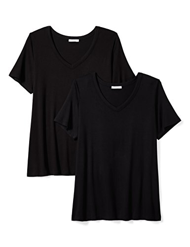 Standard Plus Size Jersey Short-Sleeve V-Neck T-Shirt, 2-Pack, Black, 3X ()