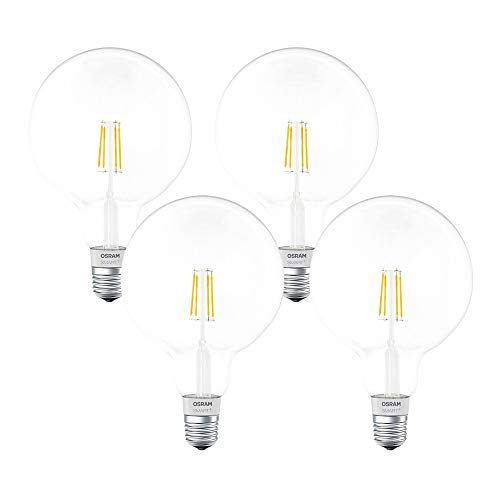 Angebot: OSRAM SMART+ LED Filament Globe Bluetooth Lampe mit E27 Sockel, dimmbar, ersetzt 50W Glühbirne, warmweiß, 4er Pack für nur 101,21 € statt bisher 149,99 € auf Amazon