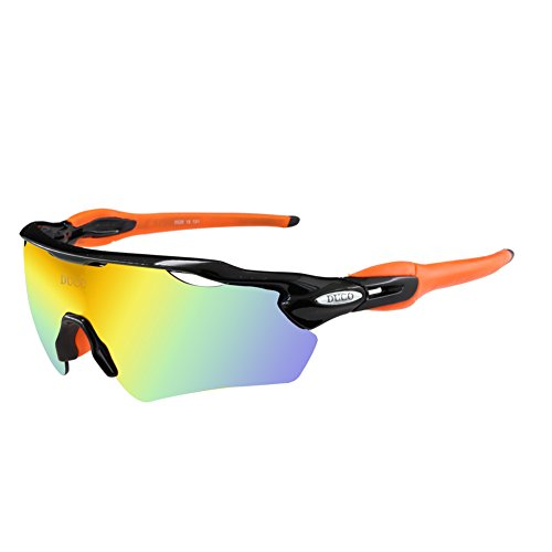 Duco occhiali da sole polarized sports mens per golf da guida da sci ciclismo superlight con 5 lenti intercambiabili
