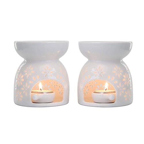 ComSaf Duftlampe Keramik Weiß mit Kerzenhalter 2er-Set - Blumenmuster