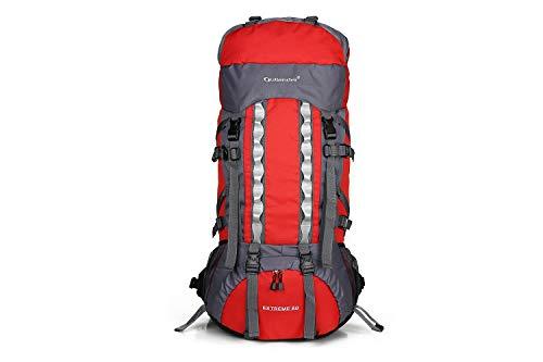Zaino da trekking con struttura interna in tessuto 80L, leggero e impermeabile zaino sportivo da esterno con copertura antipioggia, zaino da uomo e da donna (Colore : Red)