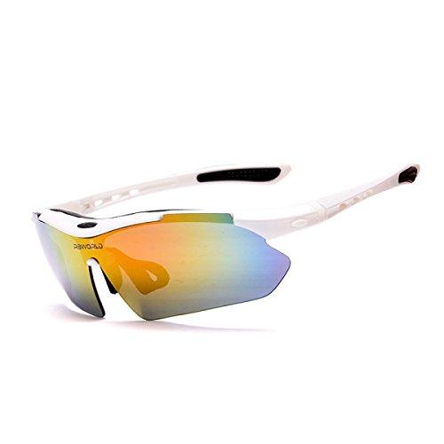 HAOYUXIANG Outdoor Sport High-Definition Polarisierte Fahrrad Winddichte Schutzbrillen Too Brillen,White