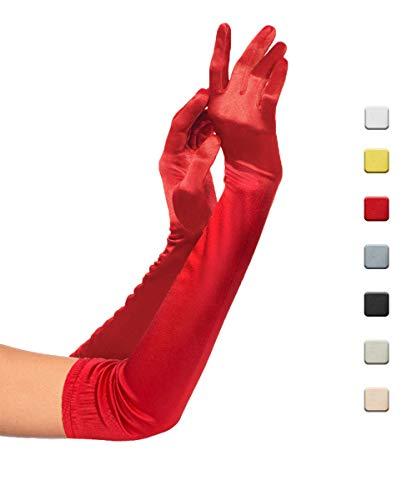 KQueenStar Damen 1920 Handschuhe - 1920er Handschuhe Satin Classic Opera Fest Party Hochzeit Braut Handschuhe 1920er Stil Handschuhe Elastisch Erwachsene Größe Länge 52/55cm