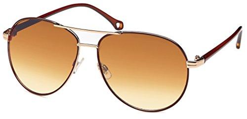 Sonnenbrille Herren Damen Pilotenbrille mit braunem Gradient-Verlaufglas und Brillenbeutel aus...