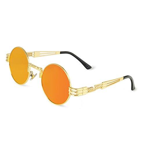 AMZTM Retro Steampunk Verspiegelt Sonnenbrille Klassischer Kreis Hippie Brille für Damen Herren Polarisierte Linse Runder Metallrahmen UV400 Schutz Alte Mode Brille (Golden Rahmen Orange Rot Linse, 49)