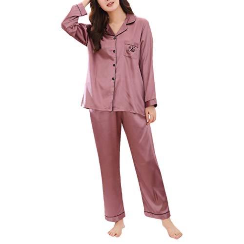 Hund Flanell-pyjama Set (Amphia - Pyjamas Frauen Frühling Seide Langarm Hause Pyjamas - Damen Damen Casual Frühling Pure Color Langärmeliges bequemes Pyjama-Set für zu Hause)