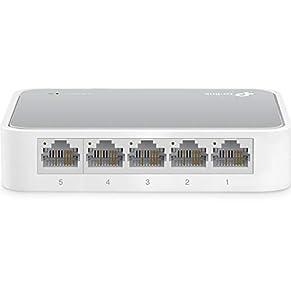 TP-Link TL-SF1005D 5-Port Fast Ethernet-/Netzwerk-/Lan Switch (10/100Mbit/s, automatische Geschwindigkeits- und Duplexanpassung, Plug-und-Play, Auto-MDI/MDIX, lüfterlos) weiß