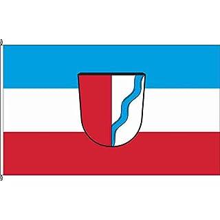 Königsbanner Tischfähnchen Langweid aLech - Tischflaggenständer aus Holz