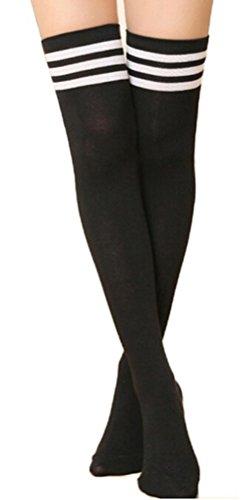 Weiß Schwarz Drei Streifen (EROSPA® Knie-Strümpfe mit 3 Streifen Overknee Schüler Damen Mädchen Cheerleader College schwarz weiß rot blau (Schwarz / Weiß))