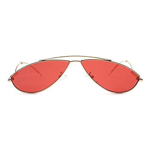 Lxc Persönlichkeit Stil Moderne Kleine Brille Europa Und Den Vereinigten Staaten Trend Street Shot Sonnenbrille UV400 Schutz Unisex Goldrahmen Zeige Temperament (Farbe : Red)