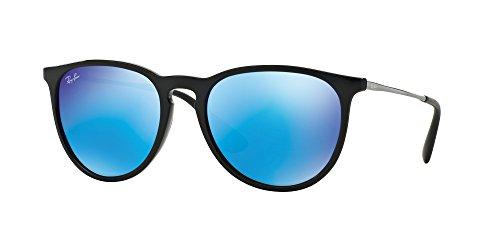 New Ray Ban Erika RB4171 601/55 Black/Light Green Mirror Blue 54mm Sunglasses