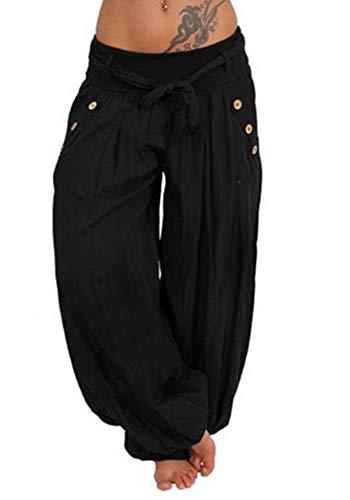 d44ee4b53b7997 Wenyujh\' Damen Hose Pumphose Haremshose Baumwolle Leicht mit Tasche  Sommerhose Freizeithose Große Größen (XXXX-Large, 5#Schwarz)