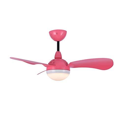 36 '' Macaron Serie Lüfter Kronleuchter, Silent Dreifarbiges Licht Fernbedienung LED Deckenventilator Licht Wohnzimmer Esszimmer Kinderzimmer Dekoration Lampe Mit Lüfter (Color : Pink) -