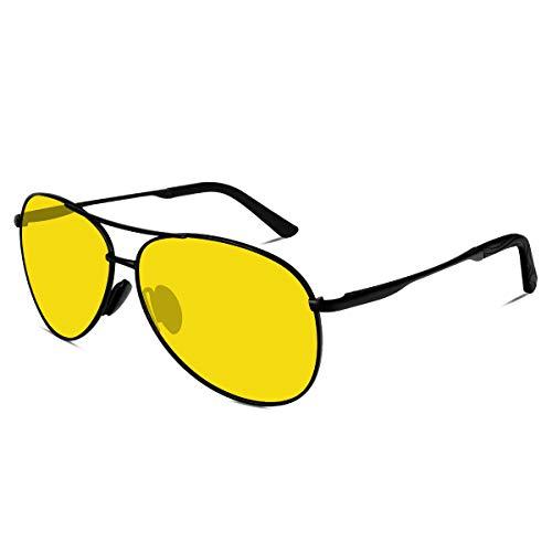VVA Sonnenbrille Herren Pilotenbrille Polarisiert Pilotenbrille Polarisierte Sonnenbrille Herren Pilot Unisex UV400 Schutz durch V101 (Nachtsicht, 2.44)