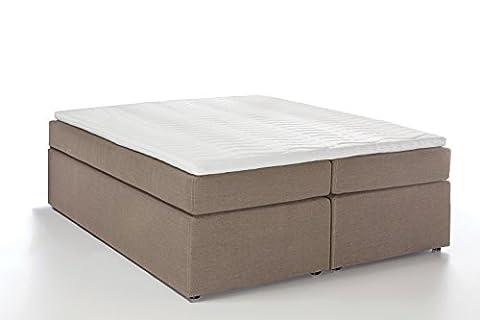 Möbelfreude® Boxspringbett Bella Beige/grau 160x200cm H2 inkl. Visco-Topper, 7-Zonen Taschenfederkern-Matratze,