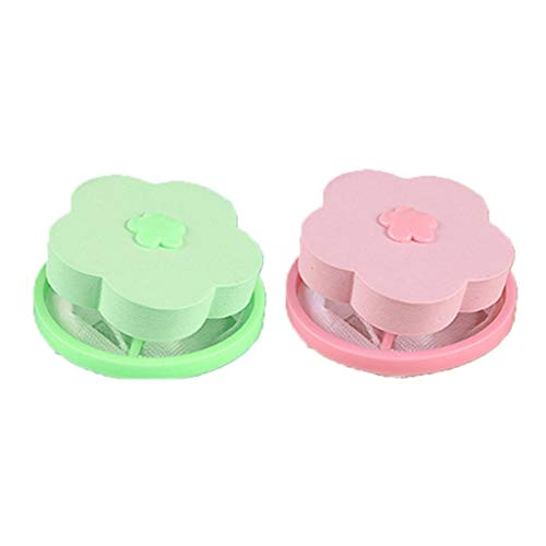 2 Stück Mesh-Filterung Filterbeutel Laundry Clean - Floating Pet Fur Catcher wiederverwendbarer Haarentferner für Waschmaschine (1Rosa,1Grün)