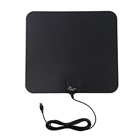 LESHP TV Aerial, Ultra-Thin Indoor Amplified 25 Miles Range Digital HDTV Antenna for Digital Freeview and Analog TV Signals, VHF / UHF / FM, Black