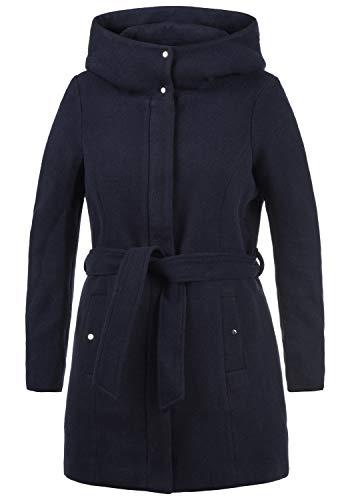 VERO MODA Wollni Damen Winter Jacke Wollmantel Winterjacke Mantel mit Kapuze und Gürtel, Größe:XS, Farbe:Night Sky