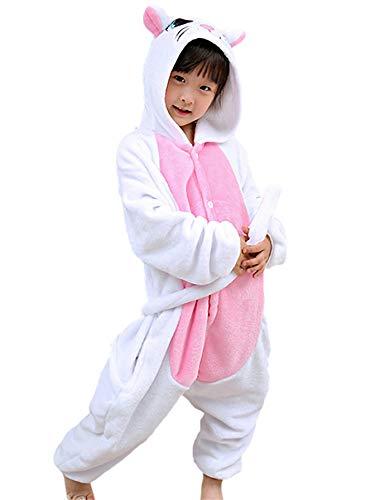 FStory&Winyee Kinder Schlafanzug Kostüm Tiere Jumpsuit Cosplay Mädchen Jungen Schlafoverall Pyjamas Nachtwäsche Einhorn Tierkostüme Karneval Overall Verkleidung Party Halloween Weihnachten 85-125 (Erwachsenen Maus Pyjama Kostüme)