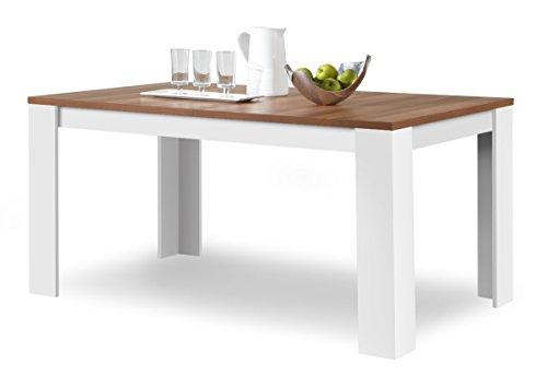 Agionda® Esstisch Toledo in Weiss und Nussbaum 120 x 80 cm mit kratzfester Melamin Oberfläche -