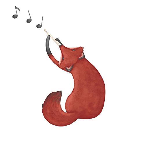 My Wonderful Walls repositionable Wall Sticker Musical Fox Wall Decal Art by Laura Gonzalez, 25,4cm da 35,6cm, Colore: Rosso/Arancione/Marrone by Mywonderfulwalls