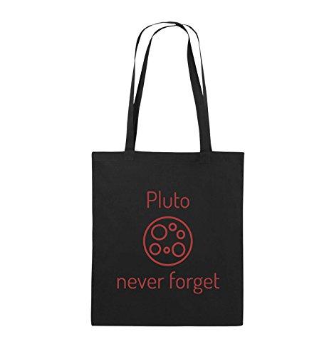 Comedy Bags - Pluto never forget - Jutebeutel - lange Henkel - 38x42cm - Farbe: Schwarz / Pink Schwarz / Rot