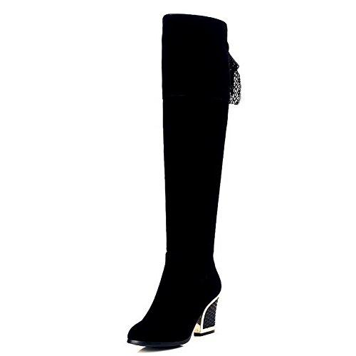 VogueZone009 Damen Nubukleder Hoher Absatz Hoch-Spitze Stiefel, Schwarz-Überschneidend Armband, (Stiefel Billig Plateau)