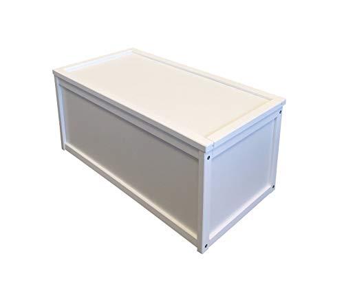 Baúl para guardar juguetes, con un diseño de madera, de color blanco