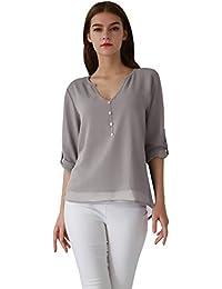 OMZIN Damen Chiffon Bluse V-Ausschnitt Henley Shirt Casual Langarm Oberteile XS-XXXL