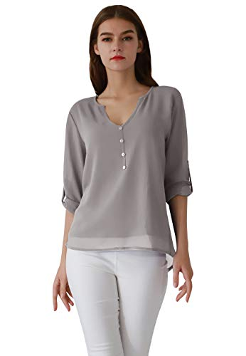 OMZIN Damen Ausschnitt V-Ausschnitt 3/4 Ärmel Casual Lose Chiffon Bluse Tops(S-3XL) Grau XS